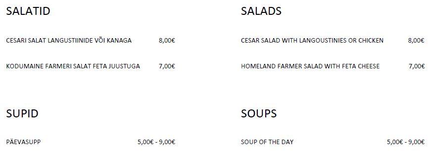 salatid ja supid